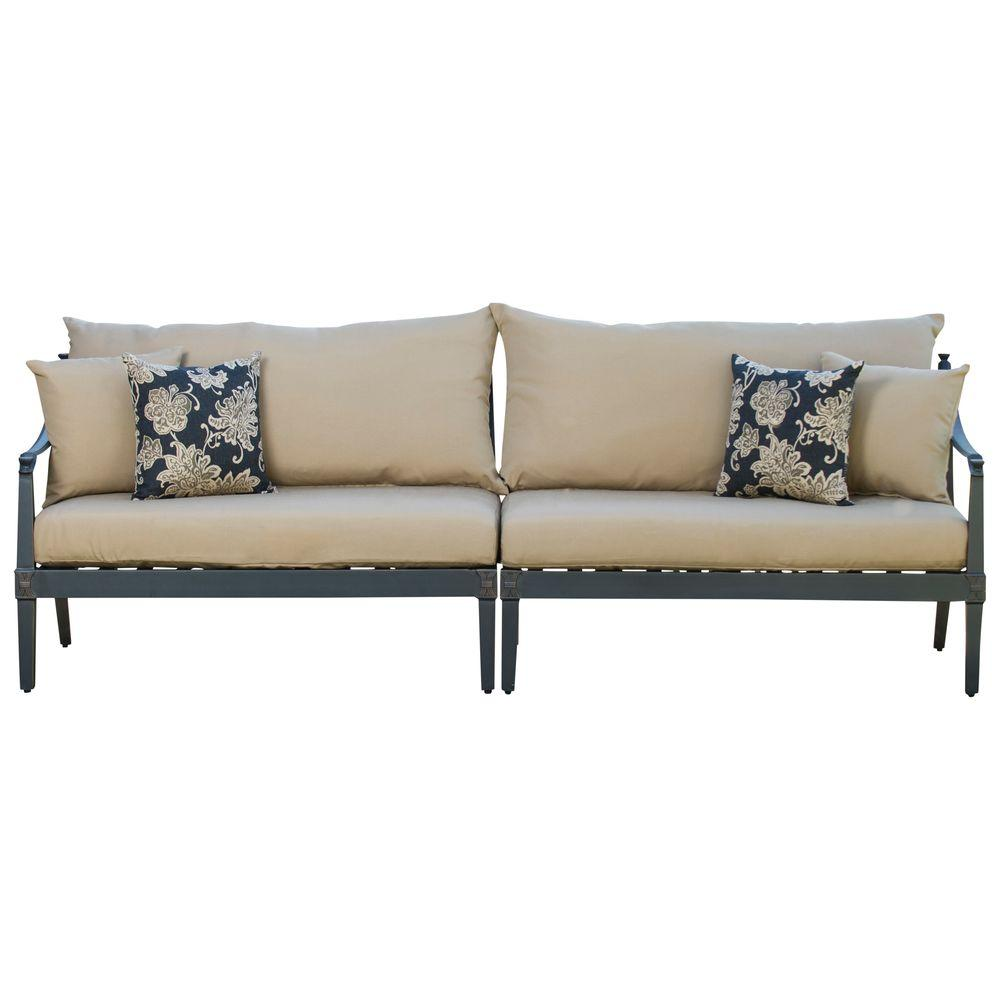 Astoria 2-Piece Patio Sofa with Delano Beige Cushions