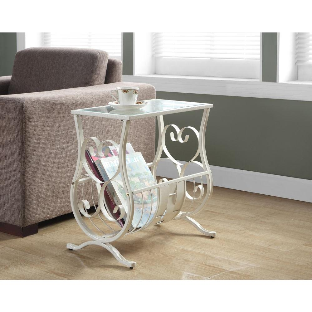 Monarch Specialties White Glass Top End Table I 3312 The