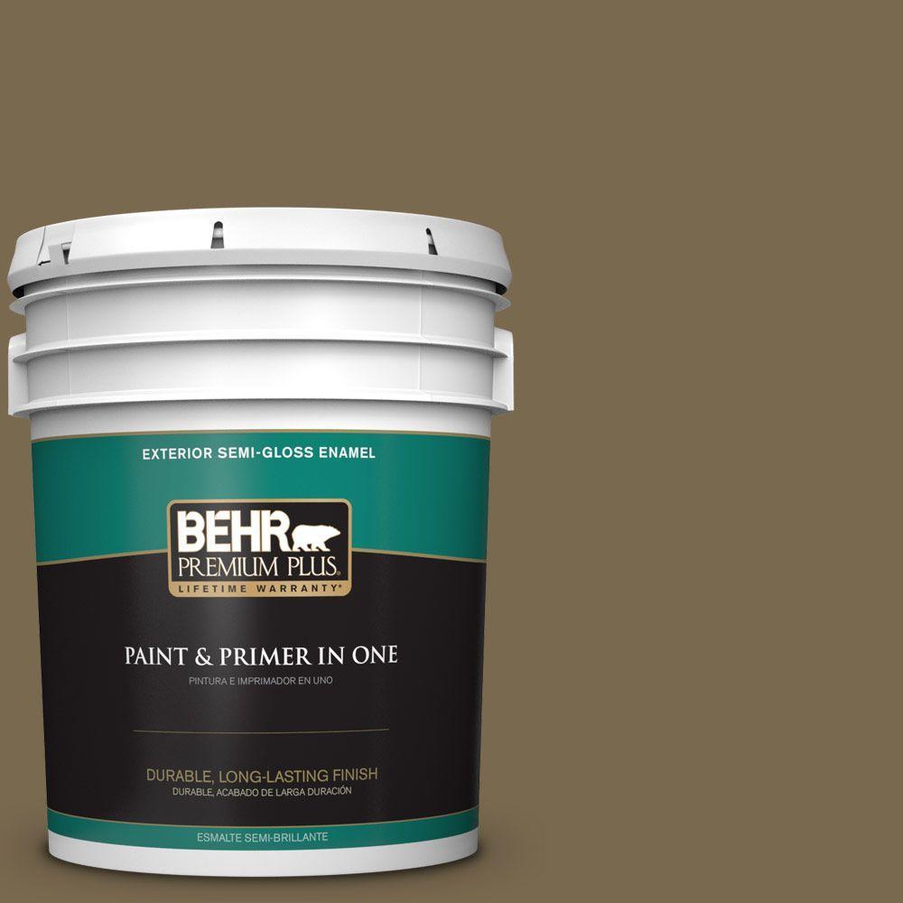 BEHR Premium Plus 5-gal. #750D-6 Lemon Pepper Semi-Gloss Enamel Exterior Paint