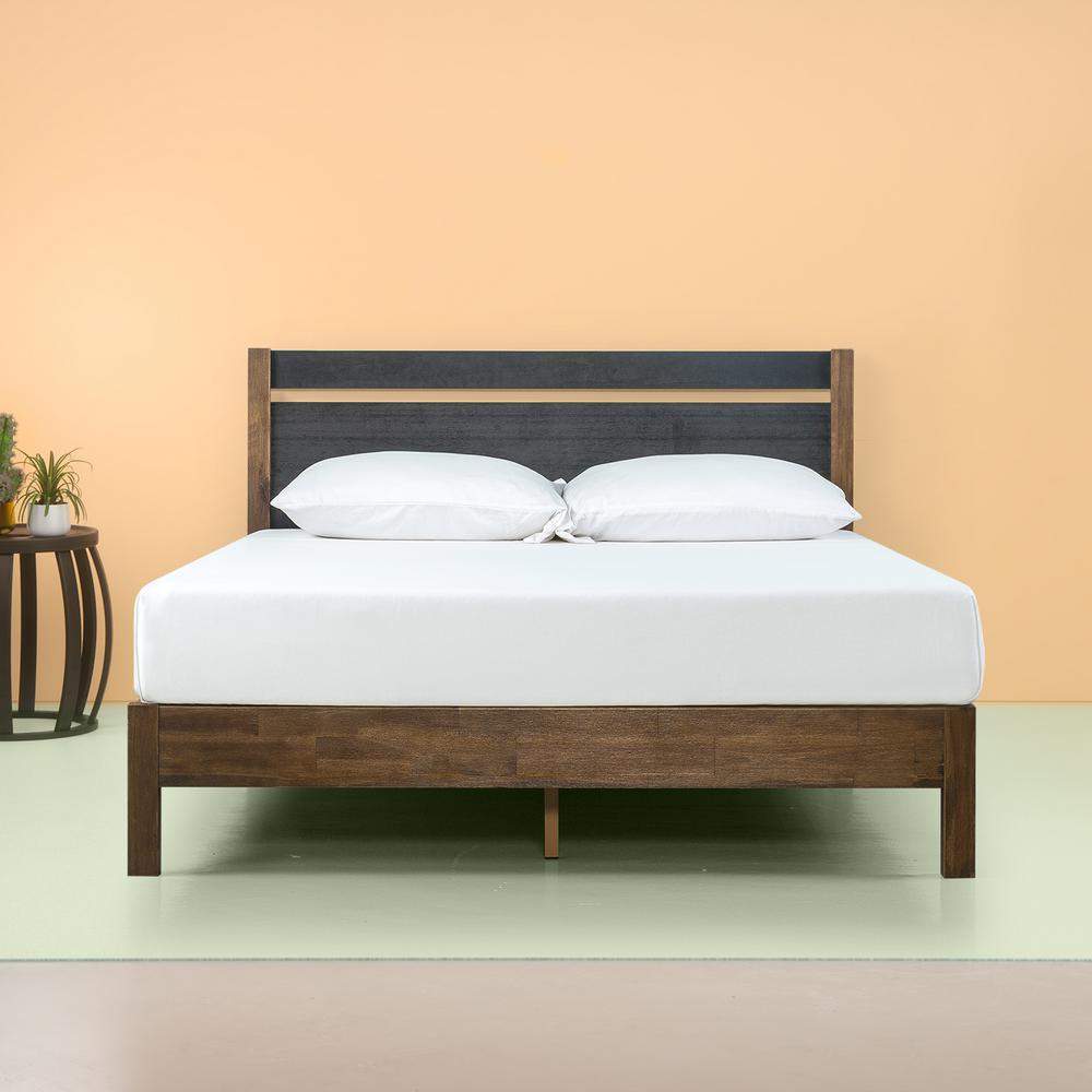 Zinus Stefan 12 In Queen Wood Platform Bed With Headboard Hd
