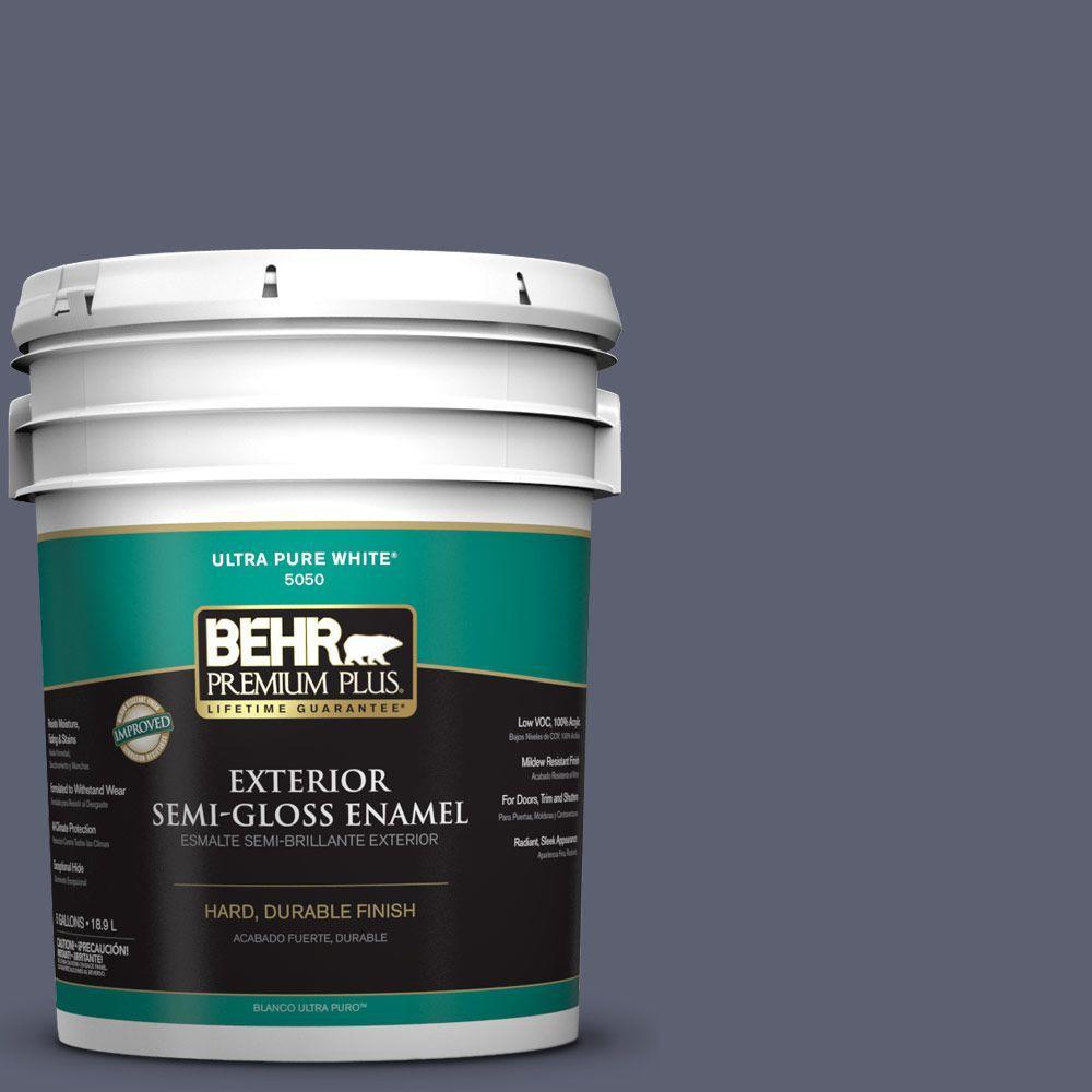 BEHR Premium Plus 5-gal. #S550-6 Mysterious Night Semi-Gloss Enamel Exterior Paint