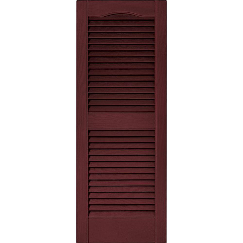 Builders Edge 15 in. x 39 in. Louvered Vinyl Exterior Shutters Pair in #078 Wineberry