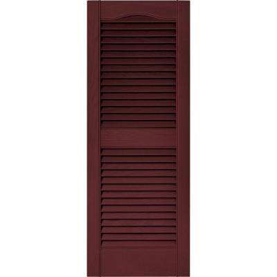 15 in. x 39 in. Louvered Vinyl Exterior Shutters Pair in #078 Wineberry