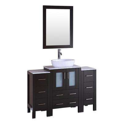 48 in. W Single Bath Vanity with Marble Vanity Top in Espresso with White Basin and Mirror