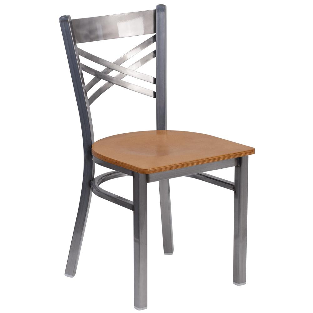 Hercules Natural Wood Seat/Clear Coated Metal Frame Side Chair