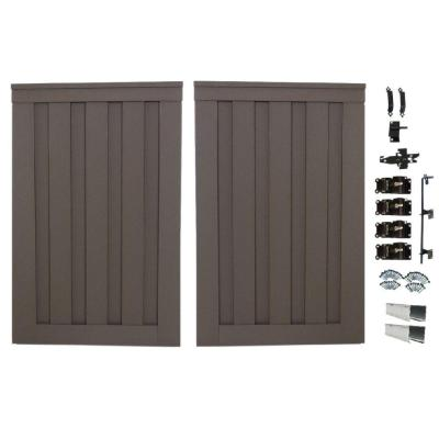 Seclusions 4 ft. x 6 ft. Woodland Brown Wood-Plastic Composite Privacy Fence Double Gate with Hardware