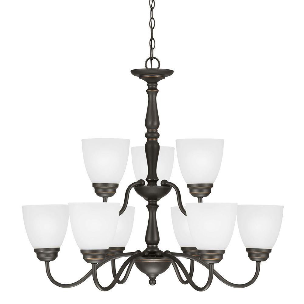 Sea Gull Lighting Northbrook 9-Light Roman Bronze Chandelier with Satin Etched Glass
