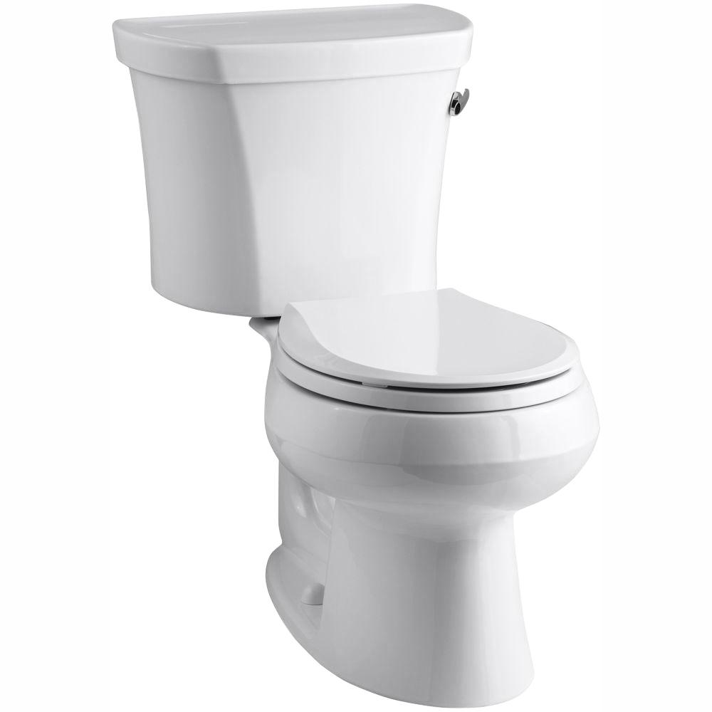 KOHLER Wellworth 14 in. Rough-In 2-piece 1.28 GPF Single Flush Round Toilet in White