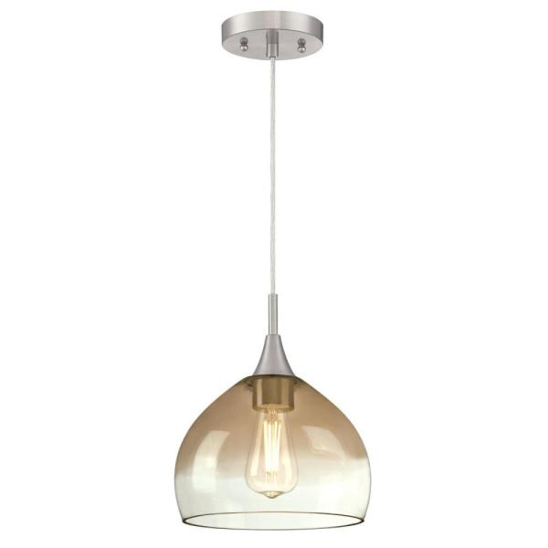 1-Light Brushed Nickel Pendant with Amber and Clear Glass Shade