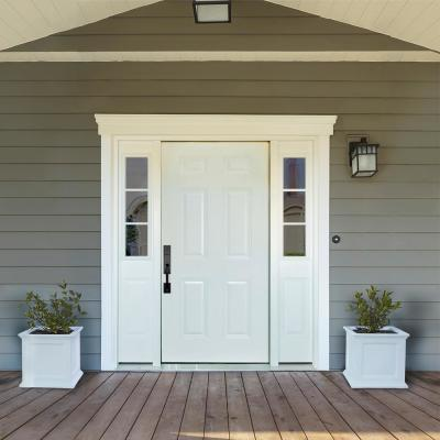 64 in. x 80 in. 6 Panel White Right Hand Primed Steel Prehung Front Door with 12 in. 3 Lite Sidelites 4-9/16 in. Frame