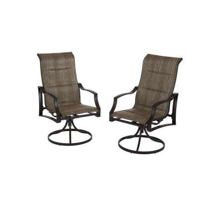 Statesville Pewter Swivel Aluminum Sling Outdoor Dining Chair (2-Pack)