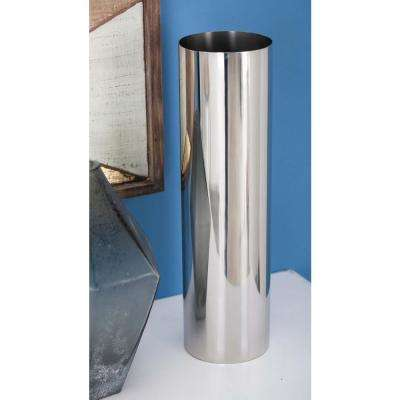 14 in. Stainless Steel Cylindrical Decorative Vase in Silver
