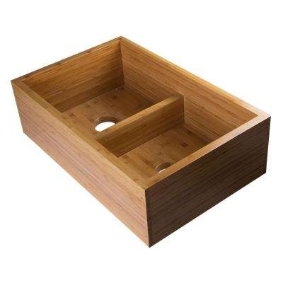 All-in-One Farmhouse Wood 33 in. 0-Hole 50/50 Double Basin Kitchen Sink in Natural Wood