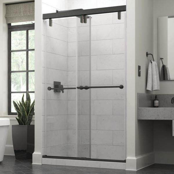 Everly 48 in. x 71-1/2 in. Mod Semi-Frameless Sliding Shower Door in Bronze and 3/8 in. (10mm) Clear Glass