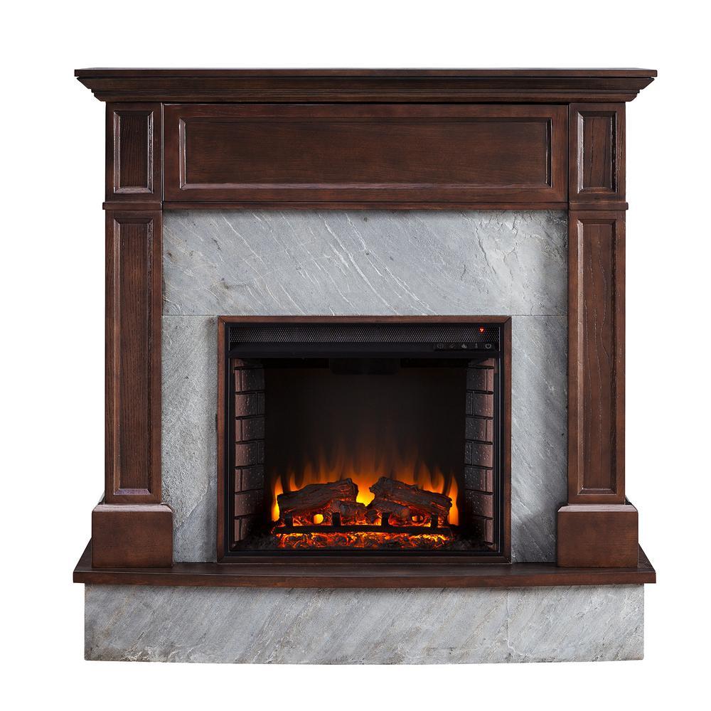Marienne 48 in. Stone Media Electric Fireplace in Dark Espresso
