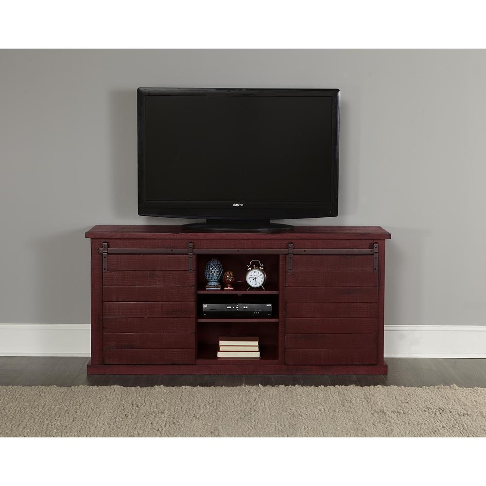 Huntington 64 in. Distressed Red Wood TV Stand Fits TVs Up to 70 in. with Storage Doors