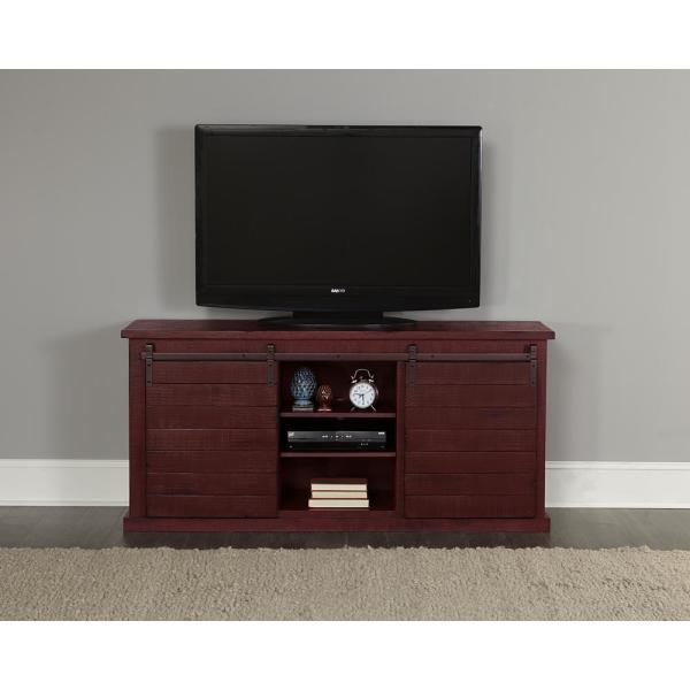 Progressive Furniture Huntington 64 in. Distressed Red Entertainment Console