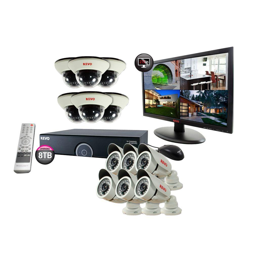 Revo 16-Channel 8TB 960H DVR Surveillance System with (12) 1200 TVL 100 ft. Night Vision Cameras and 23 in. Monitor