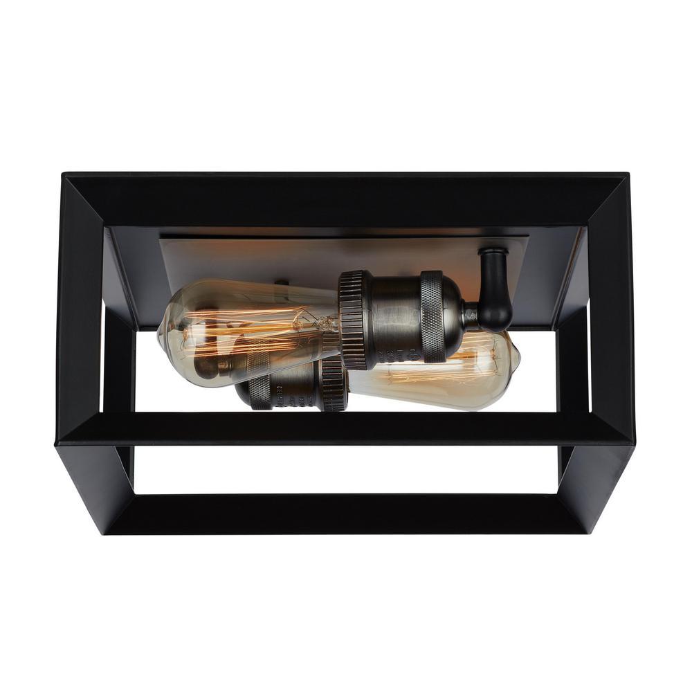 Walden Forge 2 Light Black Frame Flush Mount Ceiling Light with Antique Nickel Sockets
