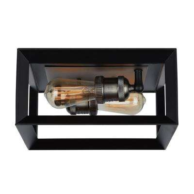 Walden Forge 2 Light Black Frame Flush Mount Ceiling Light with Antique Nickel Sockets