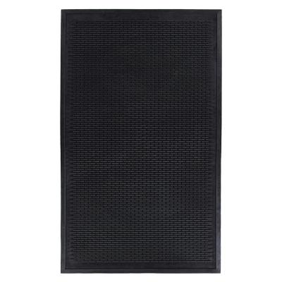 Rubber Doormat 3 ft. x 5 ft. Collection Area Rug, Black