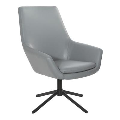 Tubby Charcoal Gray Swivel Chair Faux Leather with Black Base