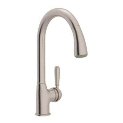 Classic Single-Handle Pull-Down Sprayer Kitchen Faucet in Satin Nickel