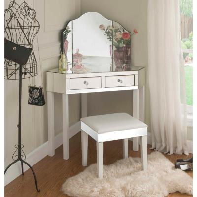 White Vanity Tables with Trifold Mirror