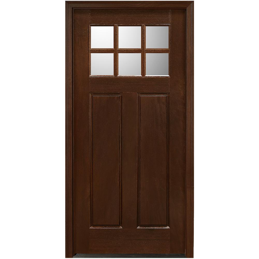 Main Door 36 in. x 80 in. Craftsman Collection 6 Lite Prefinished Antique Mahogany Type Solid Stained Wood Prehung Front Door