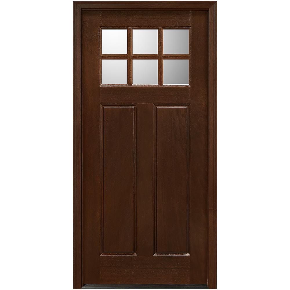Main Door 36 in. x 80 in. Craftsman Collection 6 Lite Prefinished Antique  Mahogany - Main Door 36 In. X 80 In. Craftsman Collection 6 Lite Prefinished