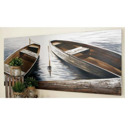 """32 in. x 71 in. """"Boats by the Quay"""" Canvas Wall Art by Unknown Artist"""