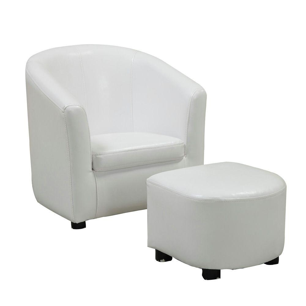 Monarch Specialties Leather-Look Juvenille Chair and Ottoman Set in White (2-Piece)