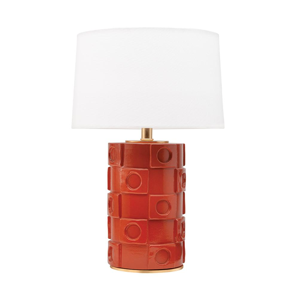 HUDSON VALLEY LIGHTING Athena 21.5 in. 1-Light Burnt Orange/Gold Leaf Table Lamp with Off White Shade was $390.0 now $234.0 (40.0% off)