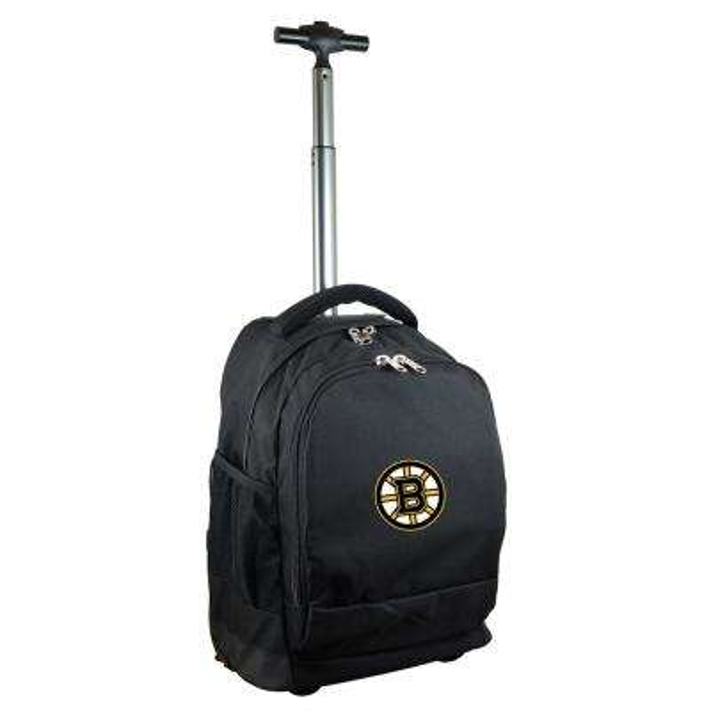 NHL Boston Bruins 19 in. Black Wheeled Premium Backpack