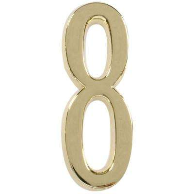 4 in. Distinctions Brass Plated Number 8