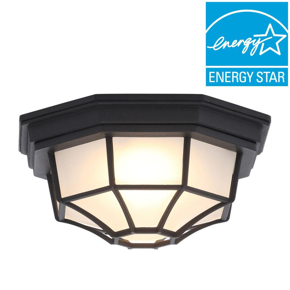 Hampton bay black outdoor led flushmount hb7072led 05 the home depot - Exterior led lights for homes ...