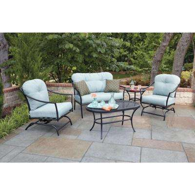 Ridgeview 5-Piece Patio Seating Set with Blue Cushions