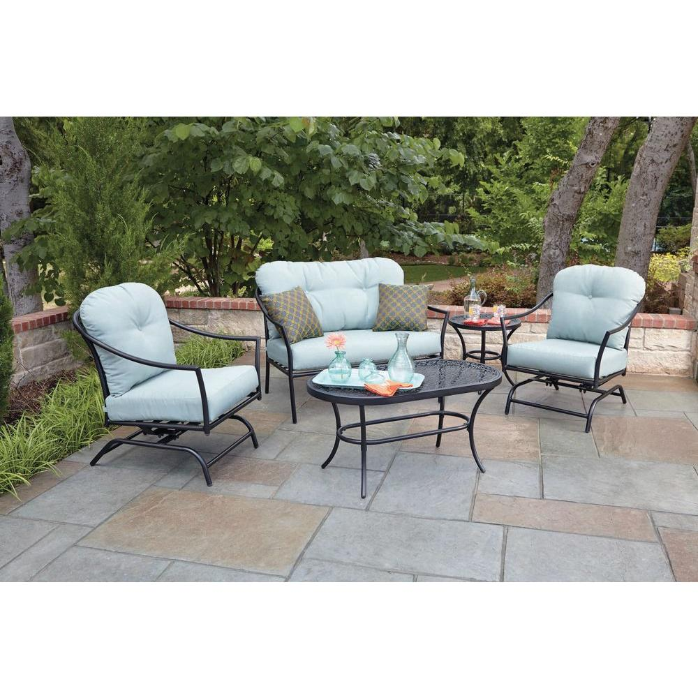Woodard Worldwide Ridgeview 5 Piece Patio Seating Set With Blue Cushions