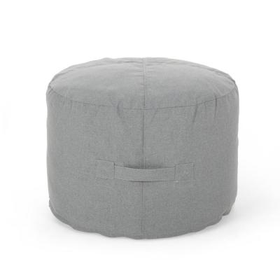Sandy Cay Charcoal Water Resistant Outdoor Ottoman Pouf