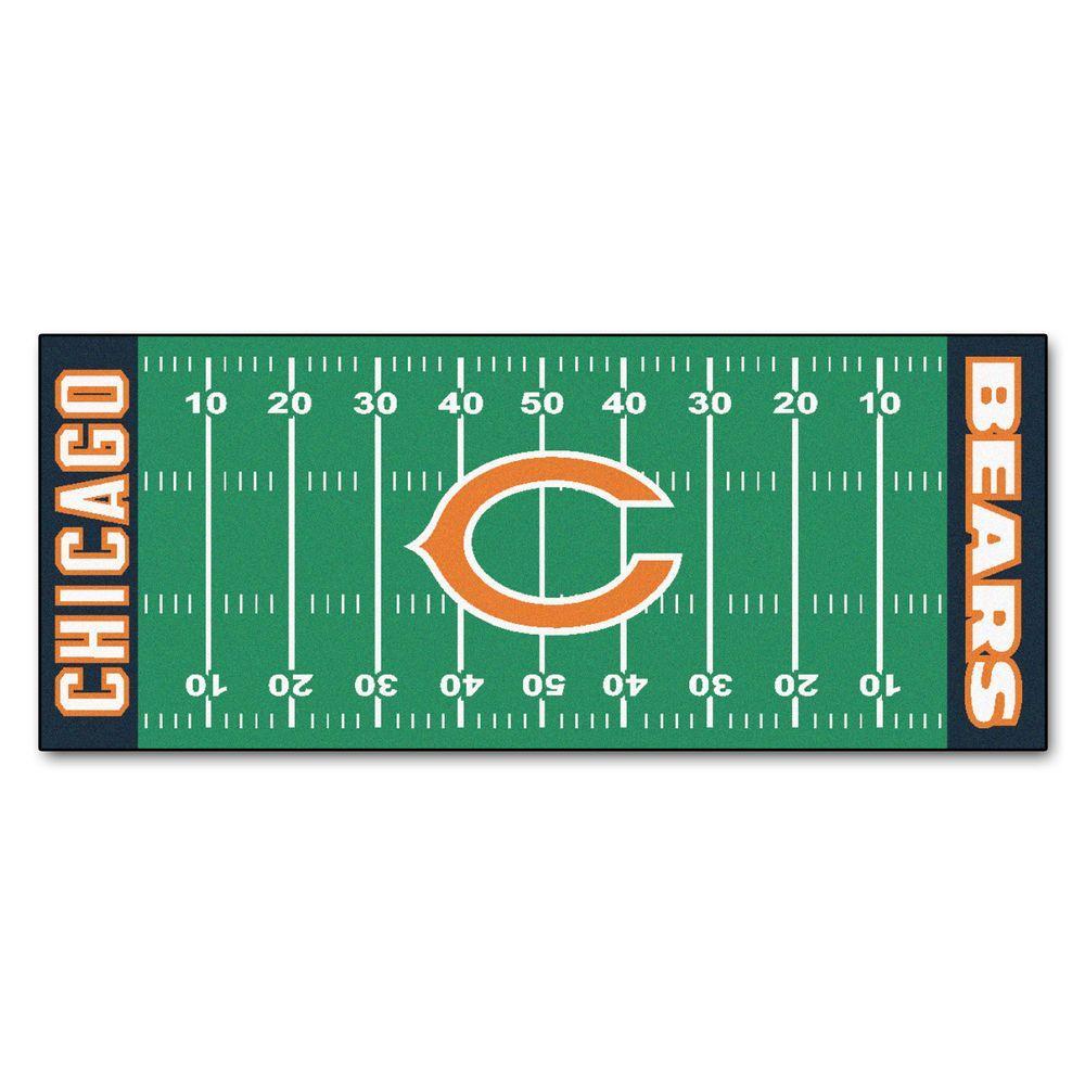 FANMATS Chicago Bears 2 ft. 6 in. x 6 ft. Football Field Rug Runner Rug