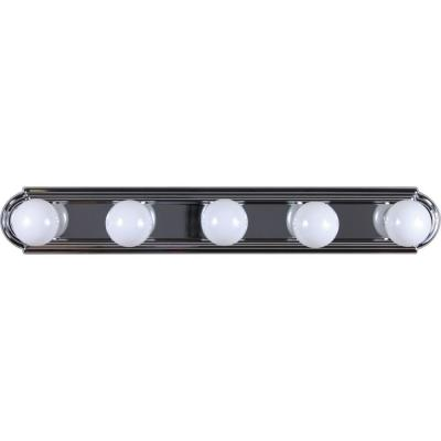 5-Light Indoor Chrome Movie Beauty Makeup Hollywood Bath or Vanity Light Bar Wall Mount or Wall Sconce