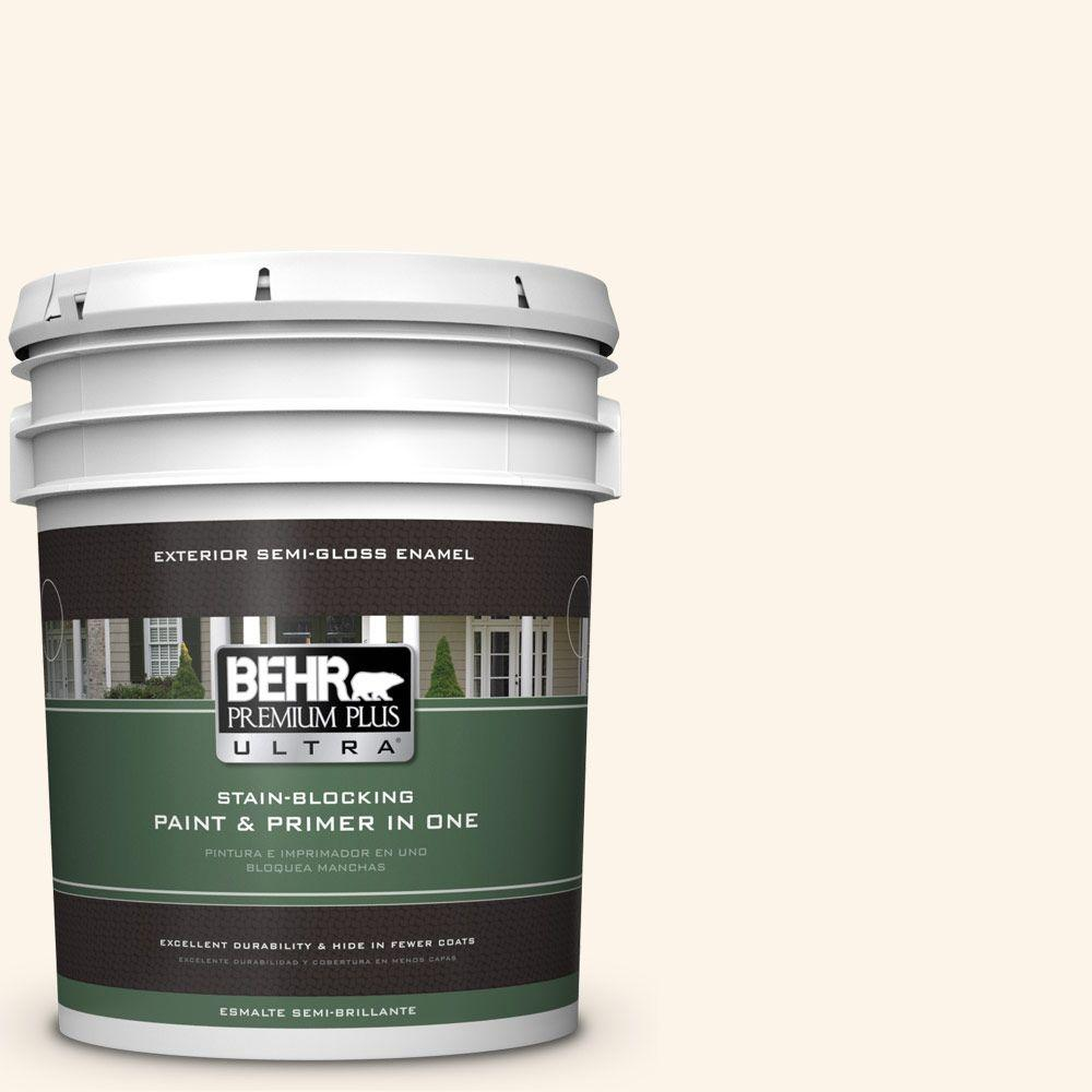 BEHR Premium Plus Ultra 5-gal. #W-D-400 Cotton Fluff Semi-Gloss Enamel Exterior Paint
