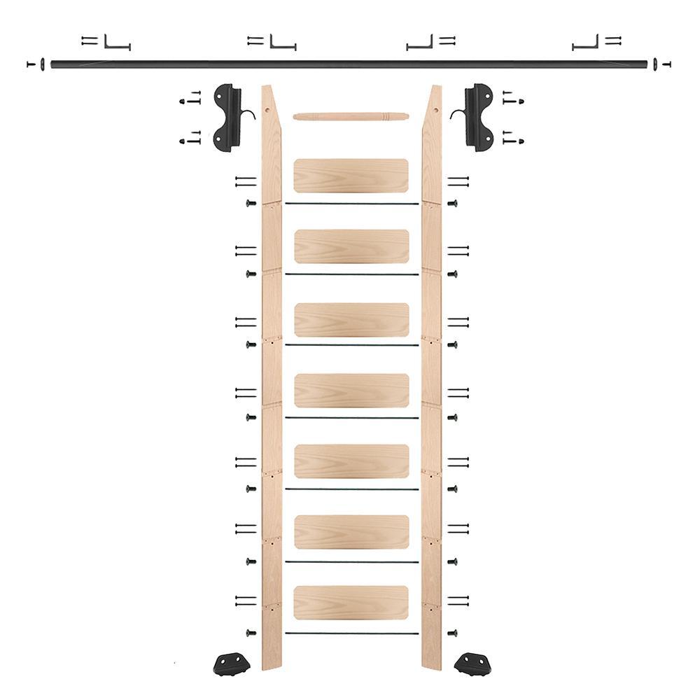 8 ft. Maple Library Ladder (9 ft. Reach) Black Hook Hardware 8 ft. Rail and Horizontal Brackets