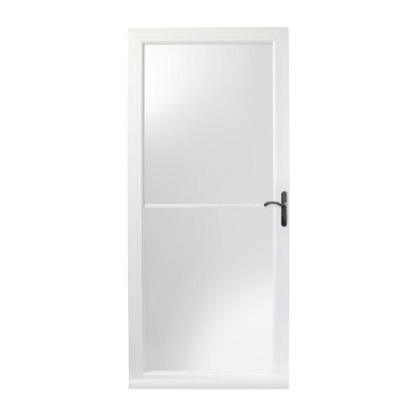 32 in. x 80 in. 3000 Series White Right-Hand Self-Storing Easy Install Storm Door with Oil-Rubbed Bronze Hardware