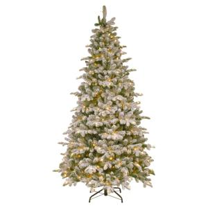 7-1/2 ft. Feel Real Snowy Everest Fir Medium Hinged Artificial Christmas Tree with 450 Clear Lights
