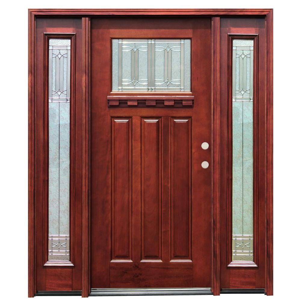 Pacific Entries 70in.x80in. Craftsman 1 Lt Stained Mahogany Wood Prehung Front Door w/Dentil Shelf 6 in. Wall Series & 14 in. Sidelites