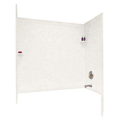 33-1/2 in. x 60 in. x 60 in. 3-Piece Easy Up Adhesive Tub Wall in Tahiti Ivory