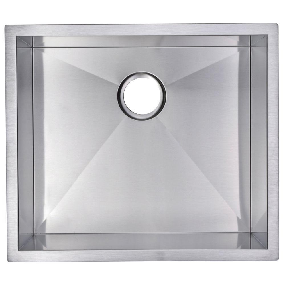 Undermount Zero Radius Stainless Steel 23x20x10 0-Hole Single Bowl Kitchen Sink in Satin Finish
