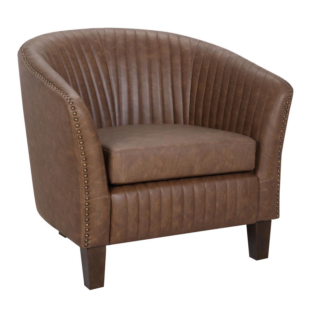 Shelton Brown Faux Leather Club Chair