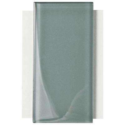 Tessera Subway Blue Smoke Glass Wall Tile - 3 in. x 4 in. Tile Sample